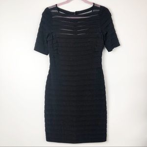 Adrianna Papell black tiered chiffon dress